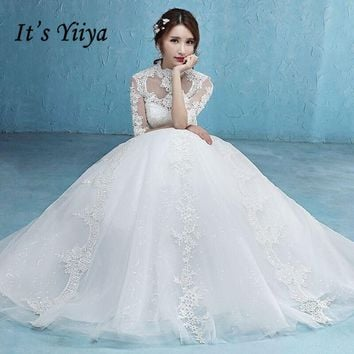 It's YiiYa Off White Popular Half Sleeve High Collar Bride Dress Simple Pattern Embroidery Sexy Backless Lace Wedding Gowns D327