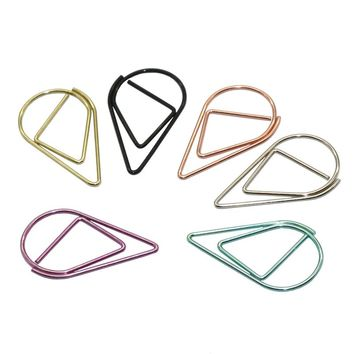 60 Pcs 6 Colors Metal Material Drop Shape Paper Clips Funny Kawaii Bookmark Office Shool Stationery Marking Clips