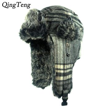 Winter Warm Earflap Bomber Hats Plaid Woolen Caps Men Women Russian Trapper Hat Aviator Trooper Earflap Snow Ski Hat Cap
