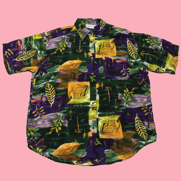 Vintage 90s Purple/Yellow/Green Rayon Button Up Shirt Womens Size Large