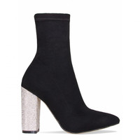 Brogan Black Silver Diamante Block Heel Ankle Boots : Simmi Shoes