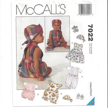 McCall's 7022 Pattern for Infants' Jumpsuit, Romper, Jumper, Hat, Shoes, From 1994, FACTOR FOLDED, UNCUT, Vintage Pattern, Home Sew Pattern