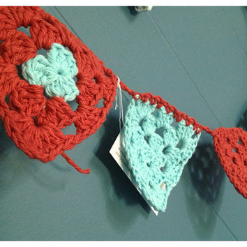 Crochet Baby Bunting  Flags  Pennants  Red & Blue by Parachet