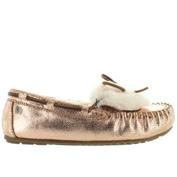 EMU Amity Cuff Crackled - Rose Gold Furry Moc Loafer Slipper