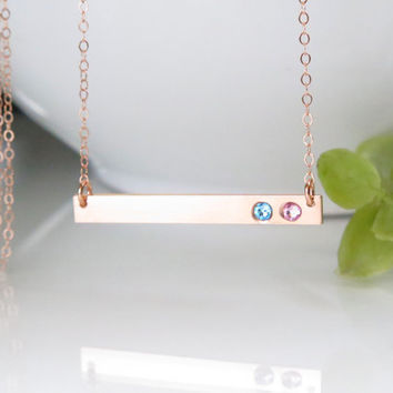 Rose Gold Bar Necklace - Birthstone Bar Necklace - Rose Gold Birthstone Necklace For Mom - Gift for Mom - Christmas Gift for Mom