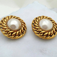 Chanel Vintage Goldtone Pearl Button Style Clip-on Earrings - Art Deco Nouveau / Authentic Designer / High End / Couture / Classy / Gift
