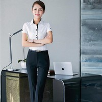 Professional Office Women Trousers Sets With Tops And Pants