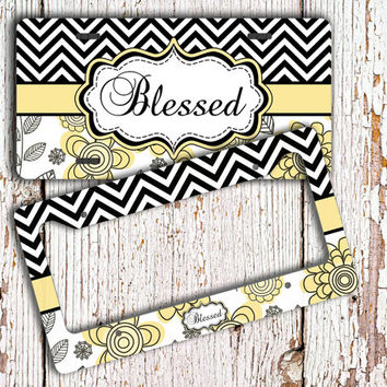Monogrammed license plate or frame - Black chevron, yellow floral - flowers car tag floral bike license plate monogram car accessory (1293)