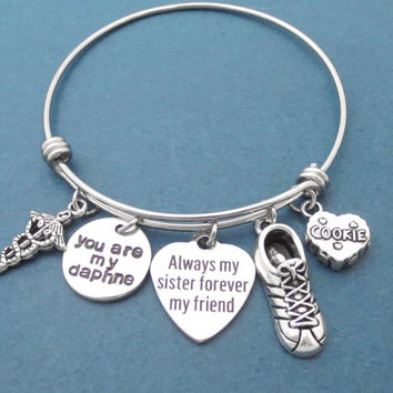 Always my sister forever my friend, you are my daphne, Shoes, COOKIE, Insignia, Silver, Bangle, Bracelet, Daphne and Bay, Gift, Jewelry