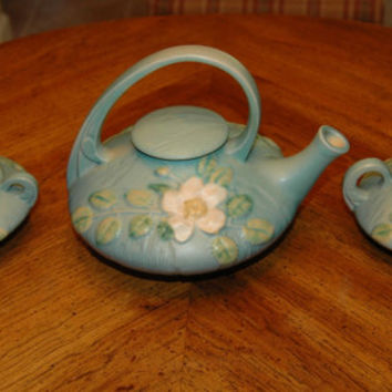 Vintage Tea Set, Roseville Pottery White Rose Blue Tea Set 1T 1C 1S, Antique Tea Set