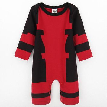 Baby Boys Deadpool Costume Romper Infant Outfit Newborn Long Sleeve Party Playsuits Toddler Overall For Newborn Christmas Gift