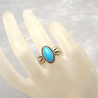Carolyn Pollack Sterling Turquoise Ring Relios Size 8 1/2  R6723