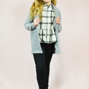 lil' belle ribbed cardigan - heather grey