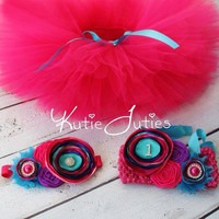 Hot Pink, Purple, Turquoise, Tutu, Top & Headband- Pink, Aqua, Birthday, 1st birthday, Girl, Newborn, Infant, cake smash, photo prop