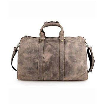 Grey Leather Weekender Bag