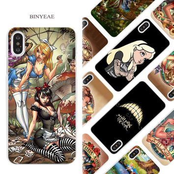 BINYEAE Tattooed princess Alice Ariel Jasmine Hard White Phone Case Cover Coque Shell for iPhone X 6 6S 7 8 Plus 5 5S SE 4 4S 5C