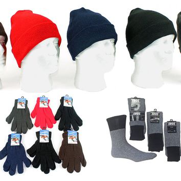 Adult Knit Cuffed Hat, Magic Gloves, & Mens Thermal Socks - CASE OF 180