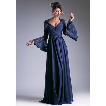 Ruched Bodice Long Formal Dress Lace Trumpet Sleeves Navy Blue