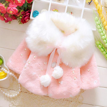 ROMIRUS 0-2 Years Fashion Baby Coat Faux Fur Thick Winter Warm Girl Clothes Infant Coats For Girls Jacket Baby-Snowsuit