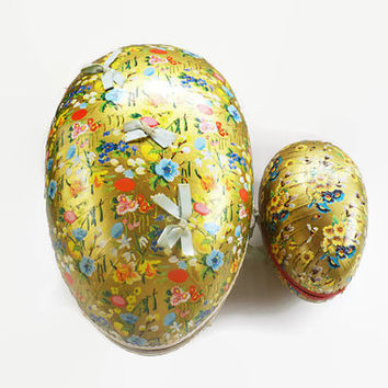 Vintage Easter Decorations, Paper Mache Easter Eggs, 1940's German Candy Container, Giant Easter Egg, Gold Foil Egg, Paper Egg
