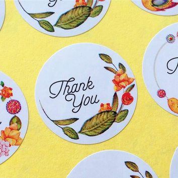 120pcs/lot Thank you Circular Adhesive Baking Seal Sticker students' Gift Label Stickers For Party Favor Gift Bag Candy Box Deco