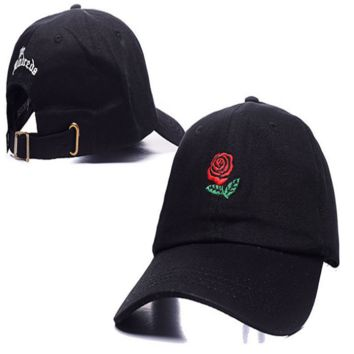 Black The Hundreds Rose Embroidered Unisex Adjustable Cotton Sports Cap Hat