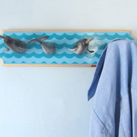 Upcycled Toy Wall Peg Rack with Narwhal Clothes Hooks