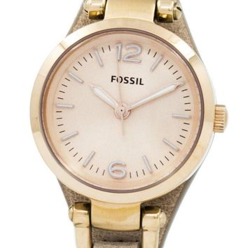Fossil Georgia Mini Rose Dial Sand Leather Strap ES3262 Women's Watch