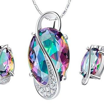 SHIP BY USPS: Jewelry Sets, Layla White Gold Plated Crystal Bridal Pendant Necklace Earrings Sets