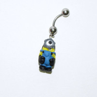 Despicable me minion belly button ring