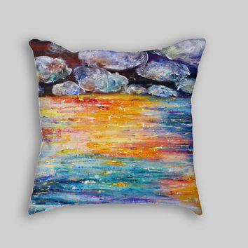 Decorative pillow cover Colorful pillow Color stripes pillows Abstract painting cushion case Decorative covers for pillow Throw pillow 18x18