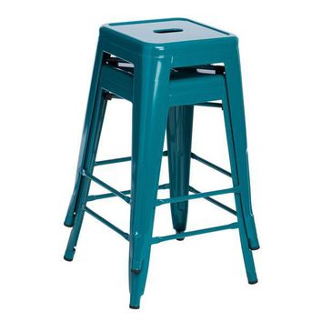 Tantalizing Teal 24 inch Gloss Bar Stools - Set of 2