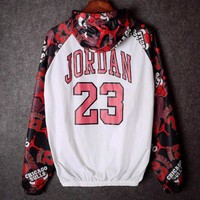 Jordan 23 Fashion Women Men Print Long Sleeve Hoodie Windbreaker Coat I