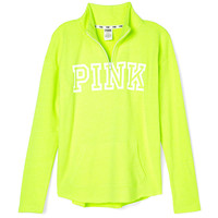 Curved-Hem Half Zip - PINK - Victoria's Secret