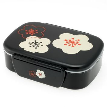 Kotobuki 2-Tiered Bento Box, Black with Flower Blossoms and Snap Lid