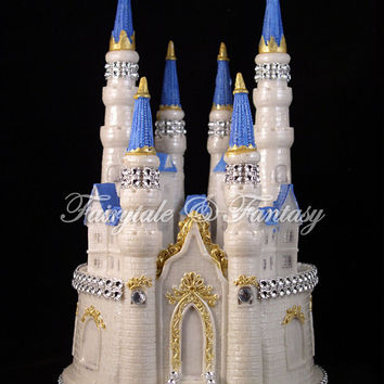 Castle Cake Topper Cinderella Fairytale Wedding or Sweet 16 or 15 - LIGHTED