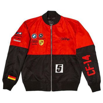 Club Foreign Two-tone German Race Jacket Red Black - Beauty Ticks