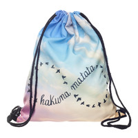 Who Cares 3D Printing Backpack Women  Hakuna Matata Infinity Drawstring Bag Fashion Casual Mochila Feminina Girl