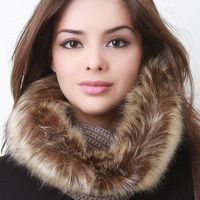 Fur Trim Solid Knit Tube Scarf