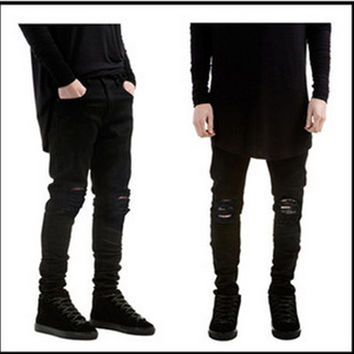 Ripped New  Biker Jeans  Motorcycle  style  elastic  men jeans  Slim Fit Washed  pants  Black colors destroyed men pant