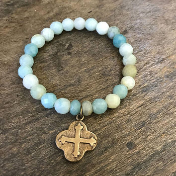 Boho Bracelet, Gemstone Bracelet, Rustic Cross, Stretch Bracelet, Stack Bracelet, Cross Bracelet, Boho Stretch, Amazonite Bracelet, Coastal
