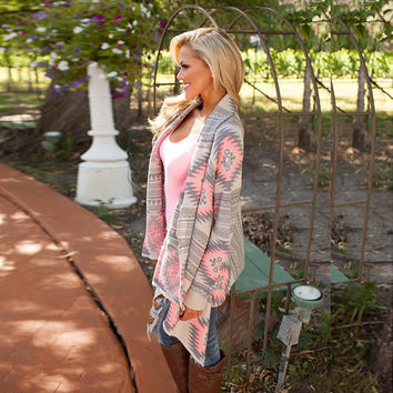 Collarless Kimono Long Sleeve Cardigan