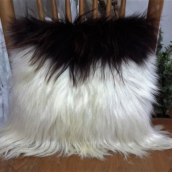 Genuine Goatskin Decorative Pillow With Filling | 100% Naturel Goat Skin Throw Pillow | Black And White Fur Decorative Throw Cushion