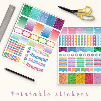 50% OFF Crumpled Stickers Printable Planner Stickers Erin Condren Filofax Box Stickers Page Flags Weekend Banners To Do Stickers Weekly Kit