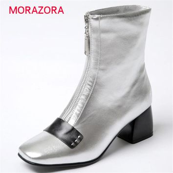 MORAZORA Plus size 34-43 women boots fashion ankle boots cow leather square toe square heel  boots autumn solid