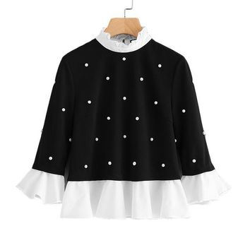 Trim Pearl Embellished Top Black and White Contrast Collar Flare Sleeve Women's Blouse