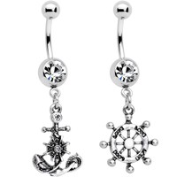 Clear Gem Best Friend Nautical Dangle Belly Ring Set of 2