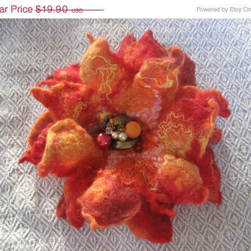 SALE Red Orange Yellow Felted Flower Brooch, Nuno Felted Wool