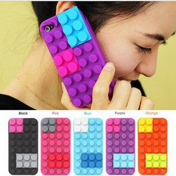 3D Lego Toy Brick Building Block Design Soft Silicone Case Protective Cute Cover Winder Phone holder for iPhone 5 SE 6 6S Plus