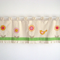 Pink Lime Green Yellow Bird Valance Cottage Window Treatment Curtain Modern country Kitchen Kids Baby Room Nursery Whimsical Flowers Decor